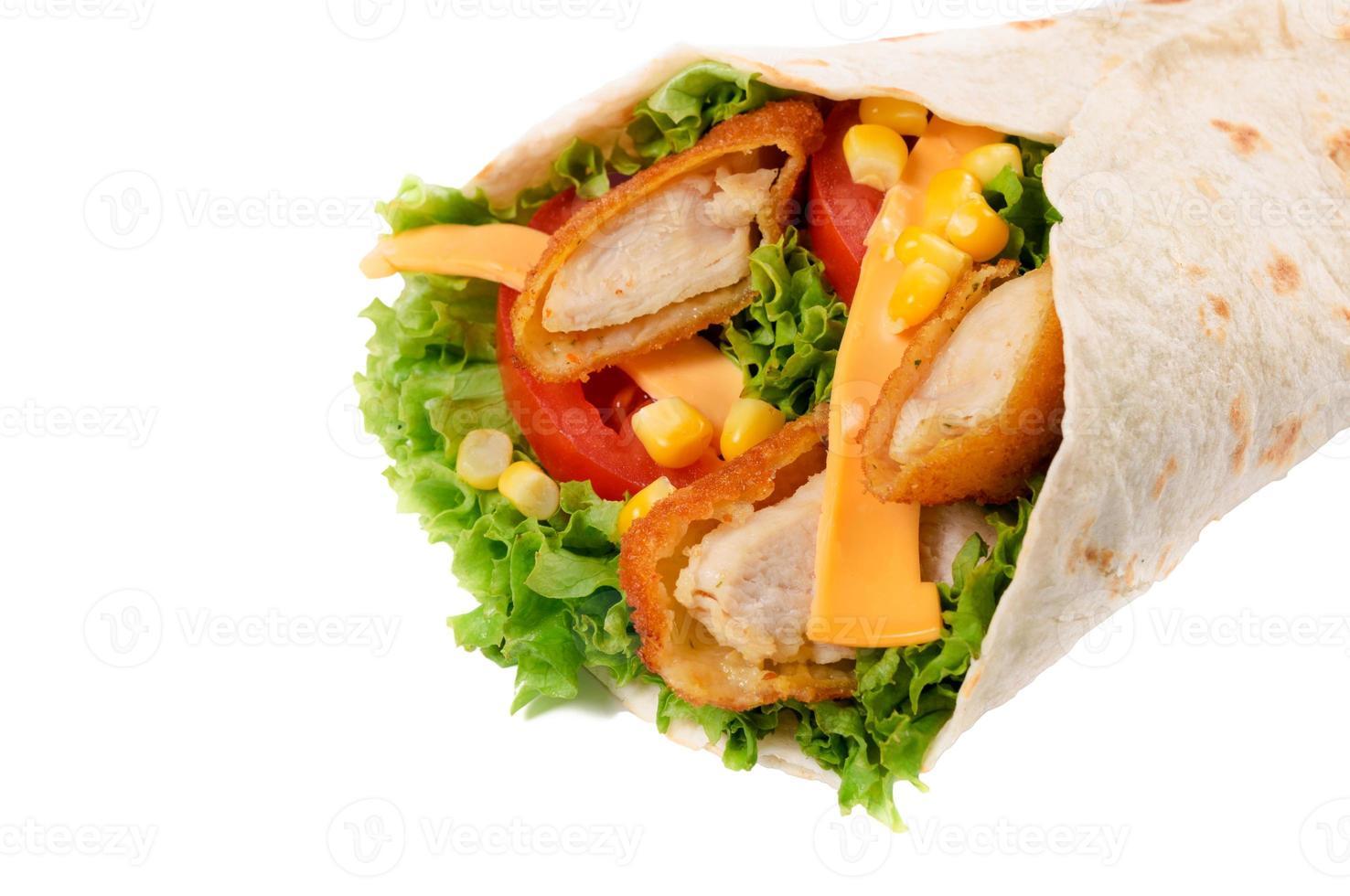 kyckling wrap isolerade foto