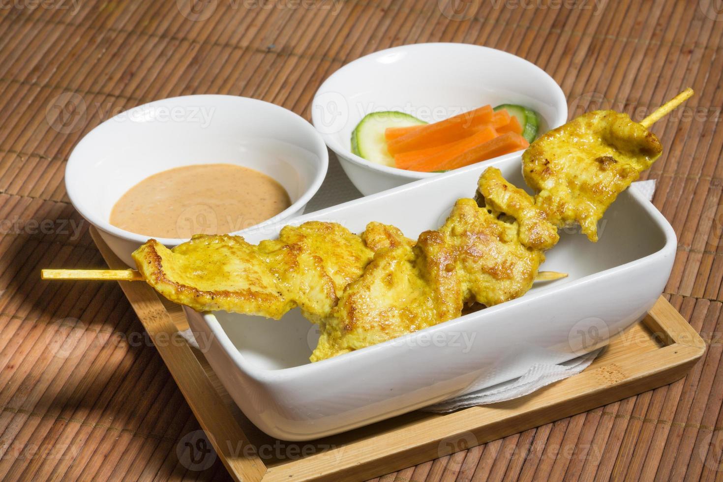 thailändska satay kyckling spett foto