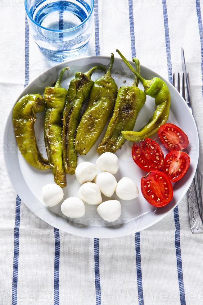 hälsosam lätt sallad med rostad paprika, mozzarella och tomatoe foto