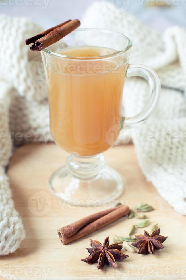 varm kryddig äppeldrink foto