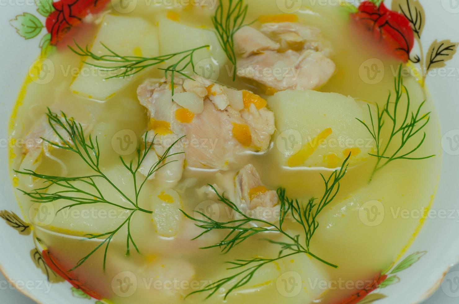 tallrik med kyckling soppa foto
