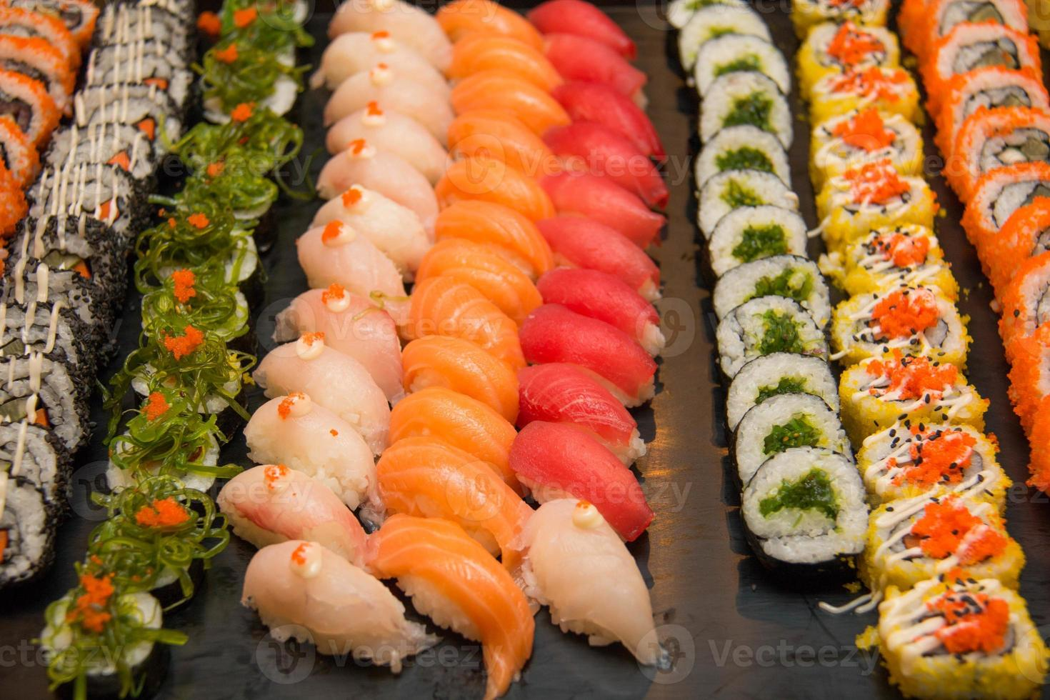 diverse japansk sushi foto