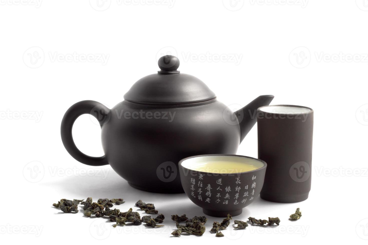 grönt te och tekanna foto