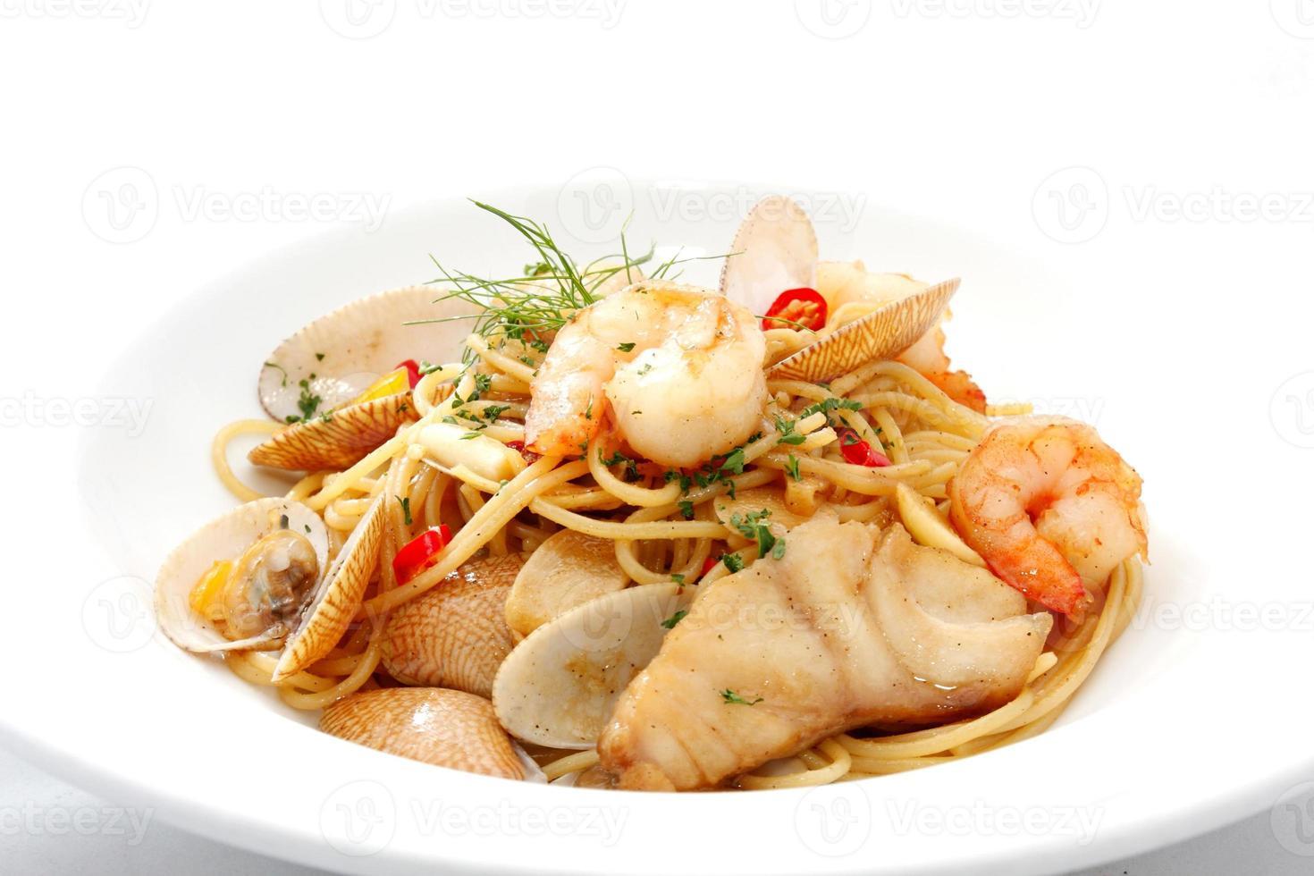 spaghetti skaldjur foto