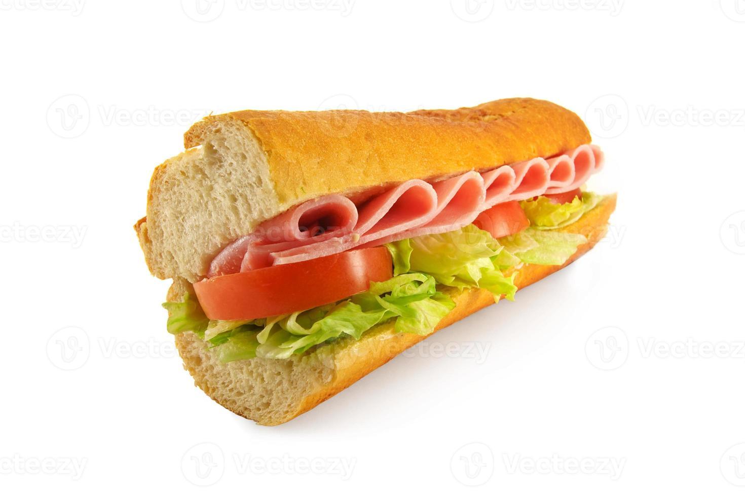 skinkasalladsmörgåsbaguett foto