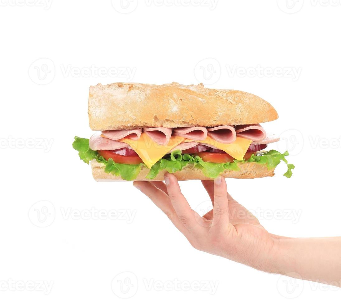 hand som håller baguette smörgås. foto