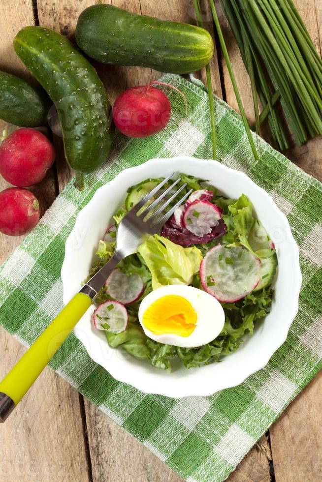 sallad med ägg, rädisa och gurka. foto