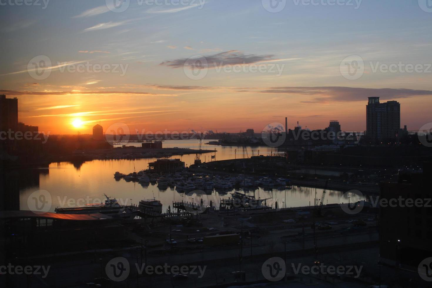 baltimore innerhamn solnedgång 2 foto