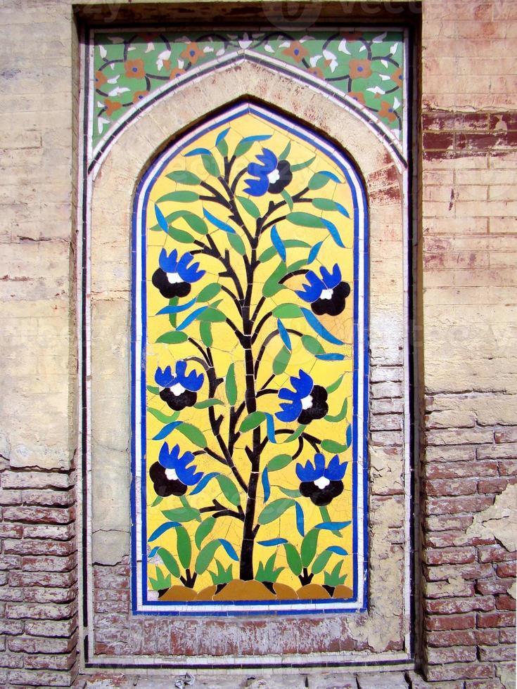 fresco, wazir khan moské, lahore, pakistan foto