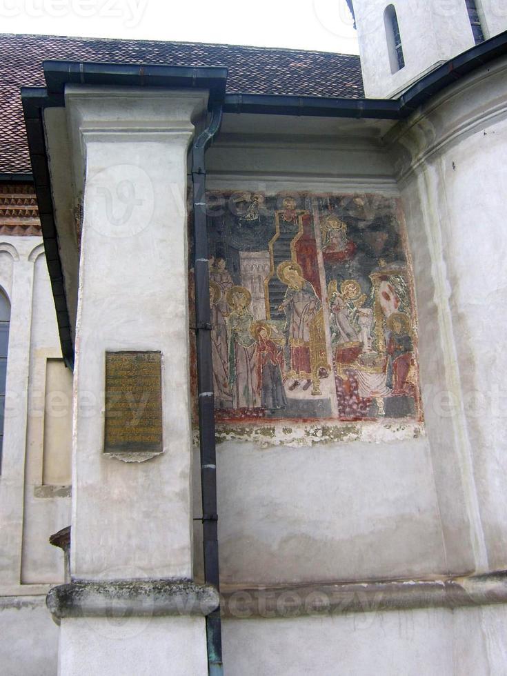 gammal fresco från st. nicholas katedral, brasov foto