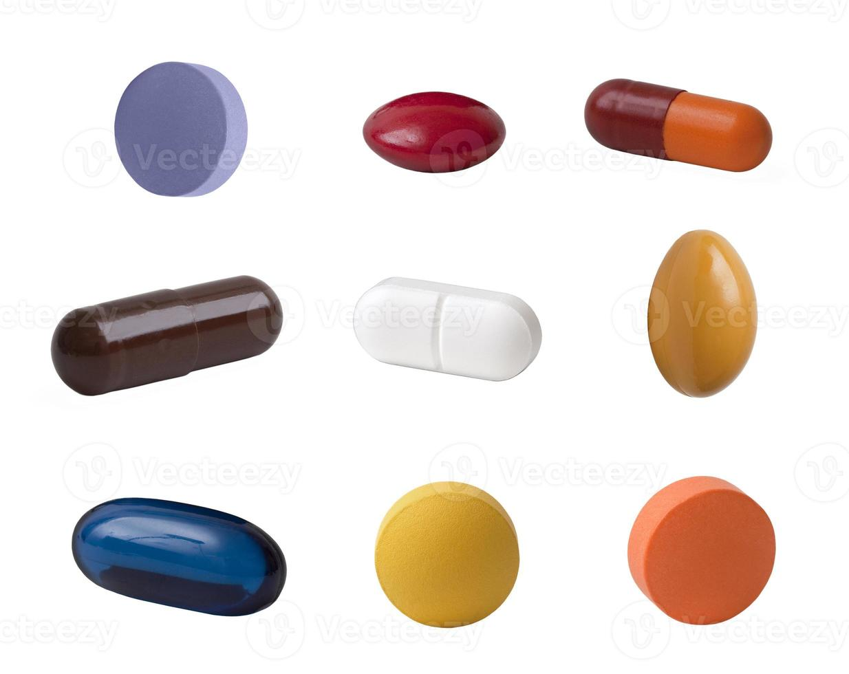tabletki na białym tle foto