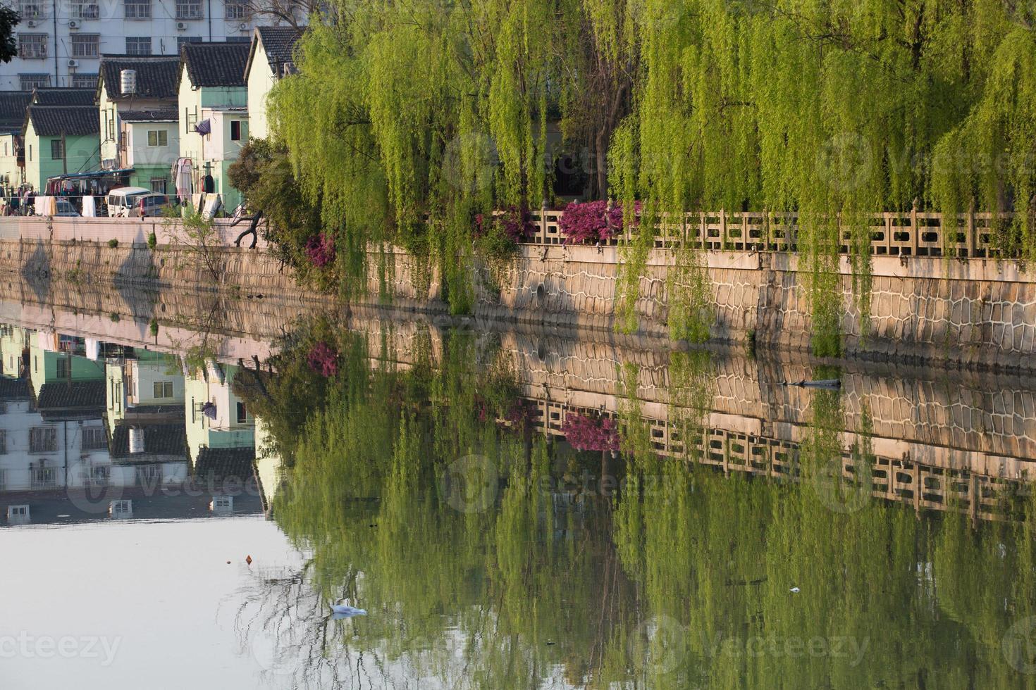 liten kanal i Suzhou, Kina foto