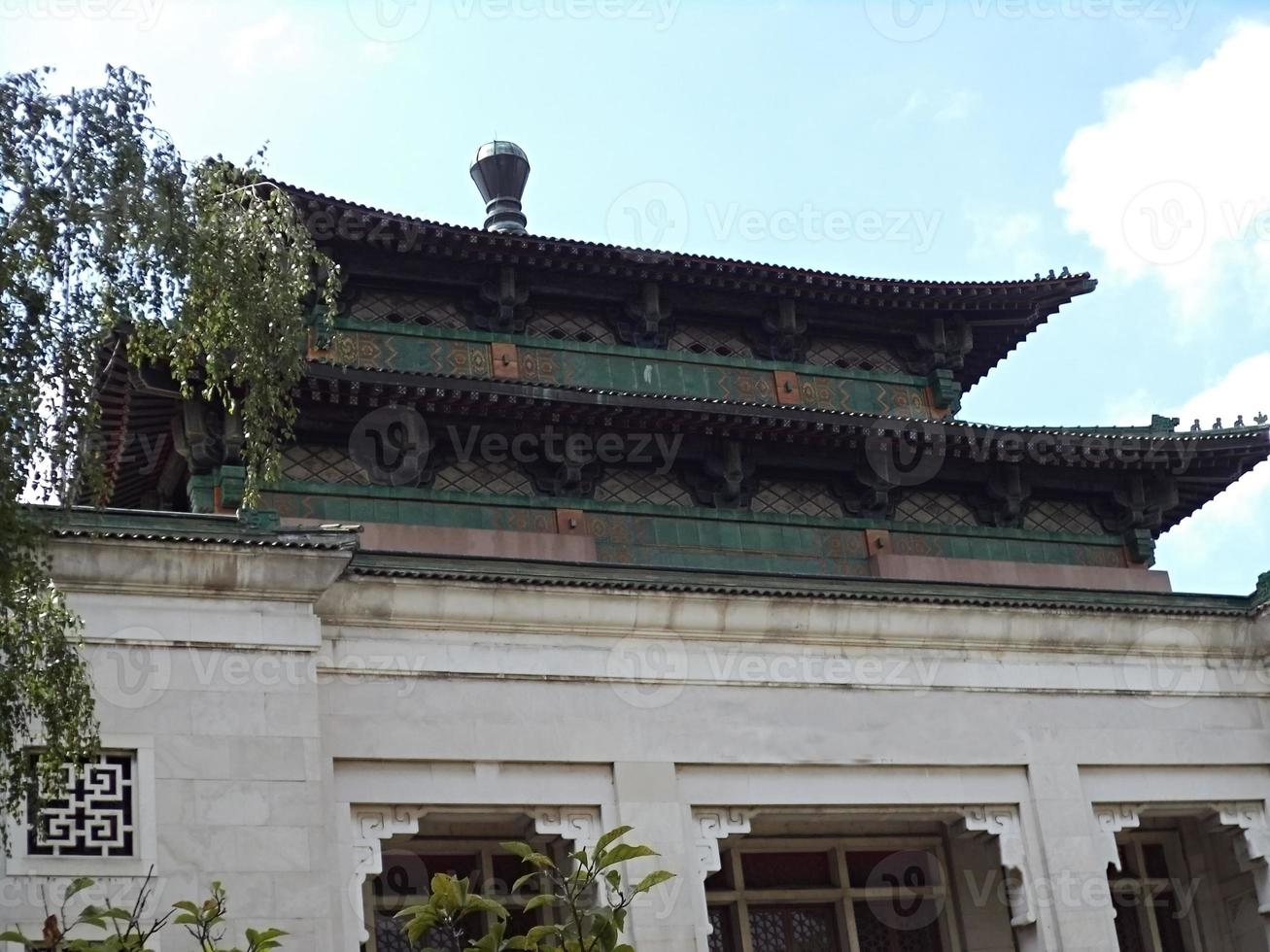 takdetalj i kinesisk byggnad foto