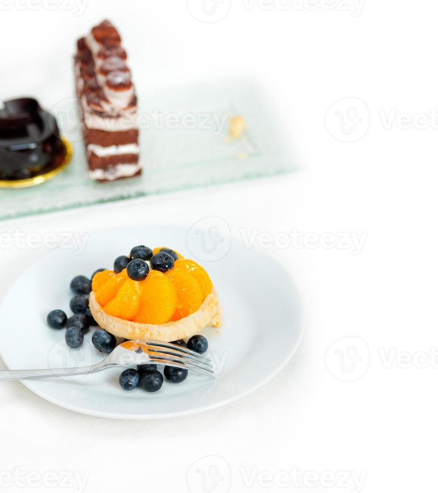blåbär grädde cupcake foto
