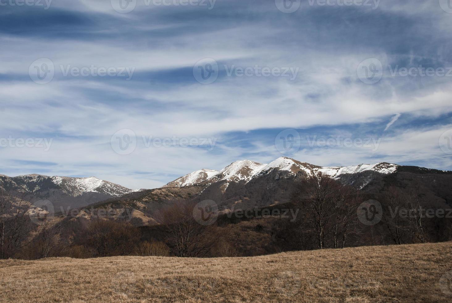 landskap med snöiga bergstoppar foto