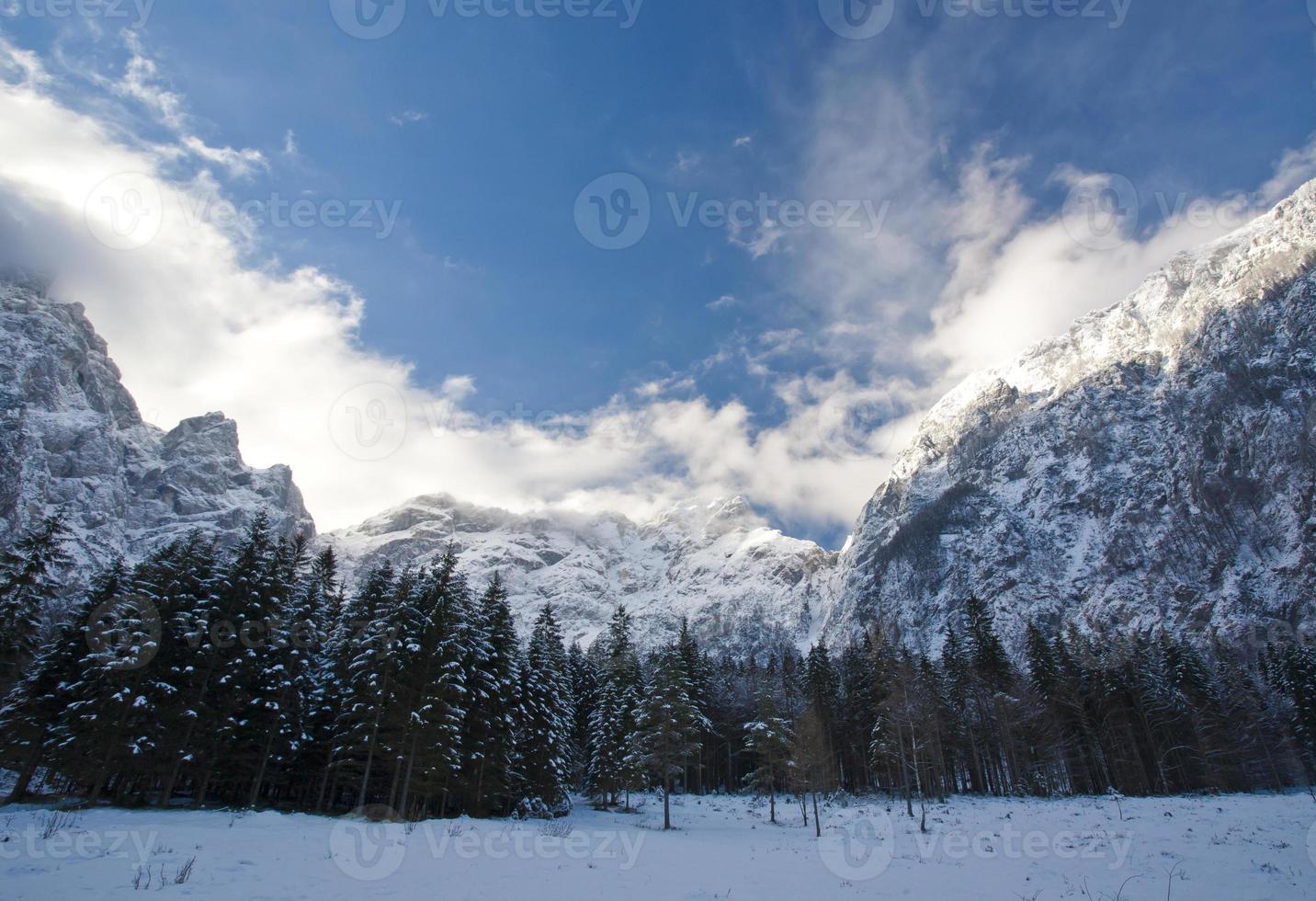 berg på vintern foto