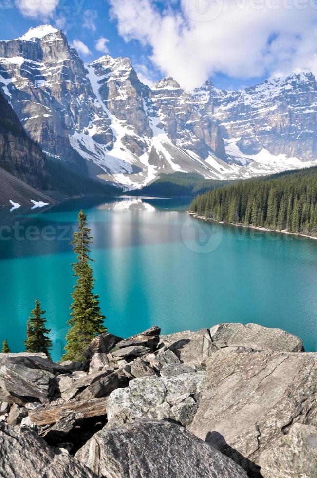 moränsjö, steniga berg (Kanada) foto
