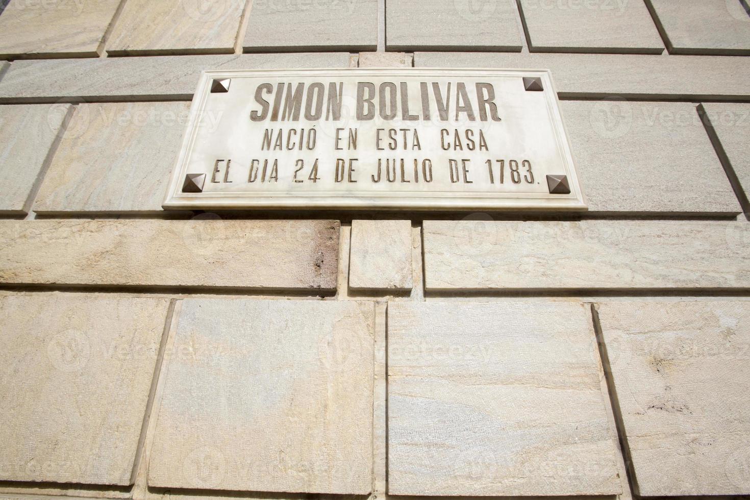 simon bolivar födelseplatshus, caracas, venezuela foto