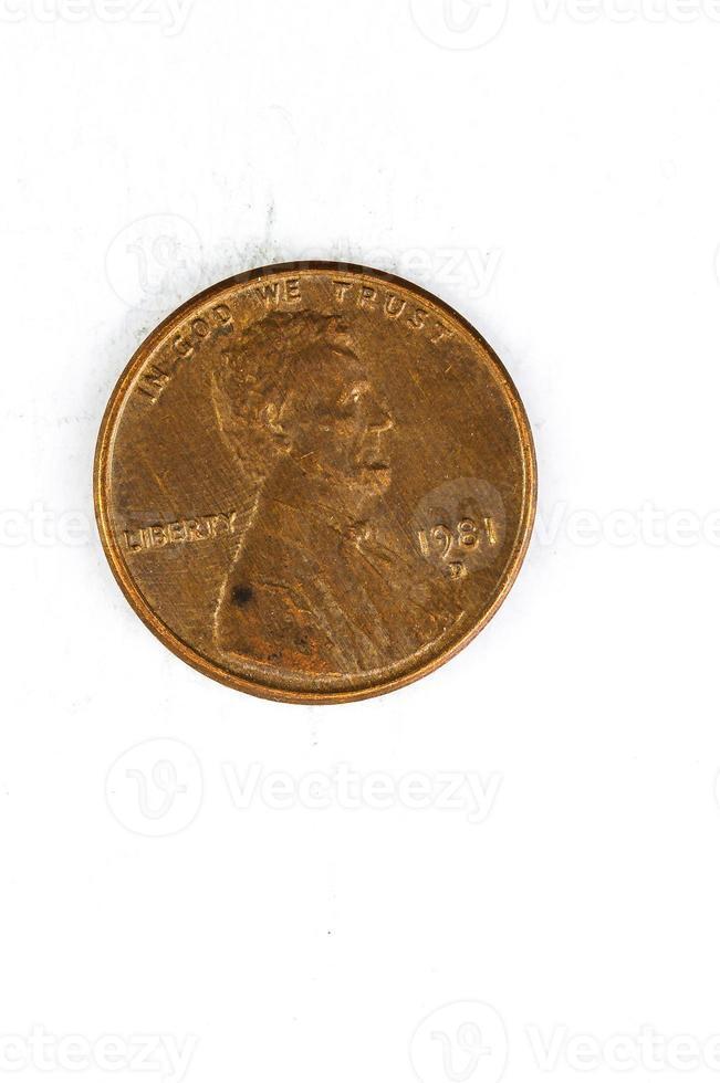 1 us cent mynt koppar i gud vi litar på foto