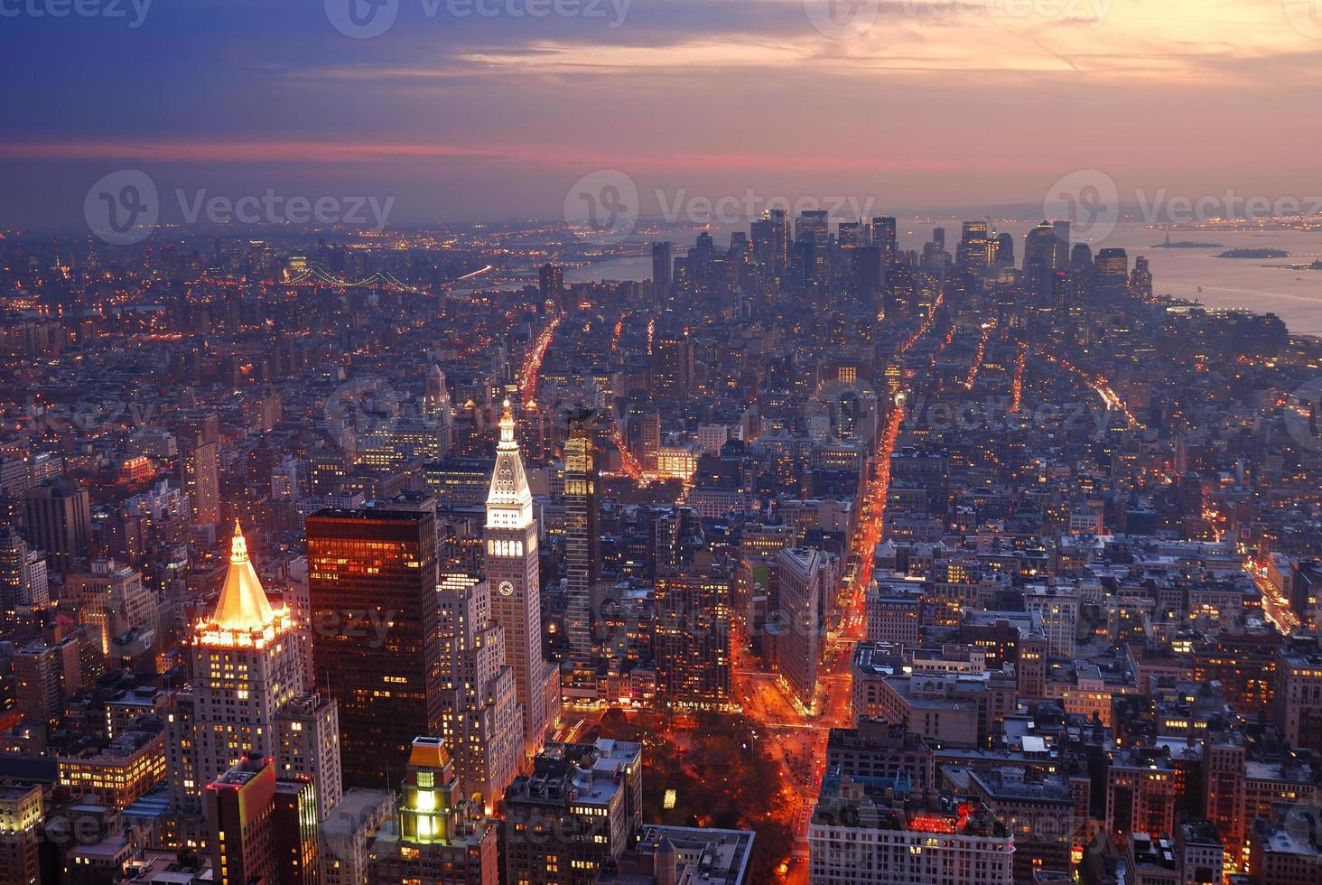 new york city manhattan skyline Flygfoto över solnedgången foto