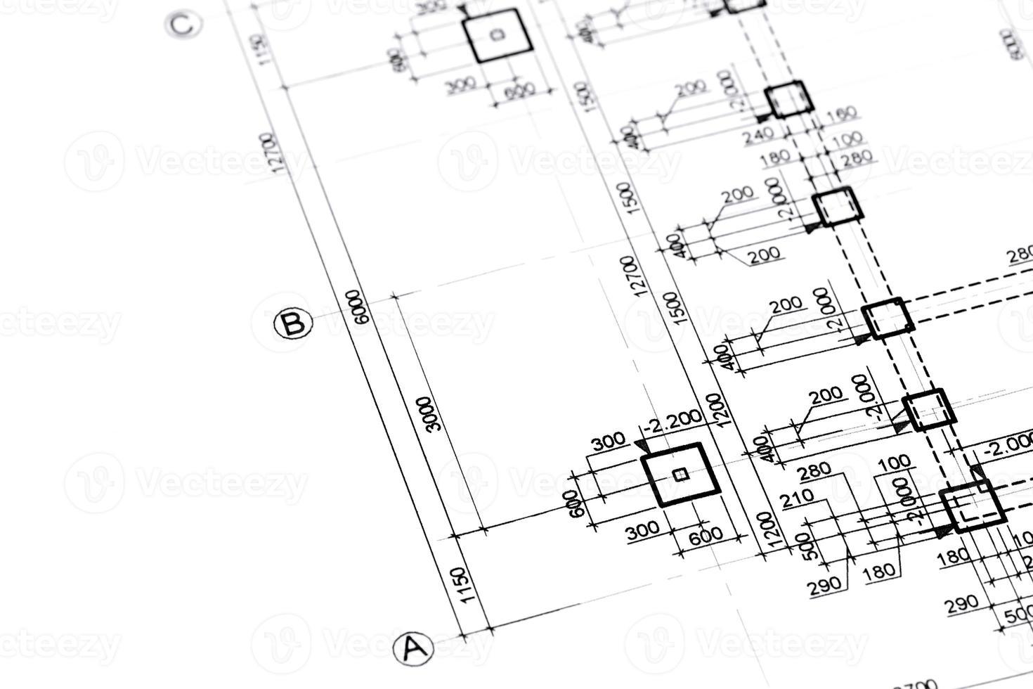 arkitektoniska eller tekniska planer foto