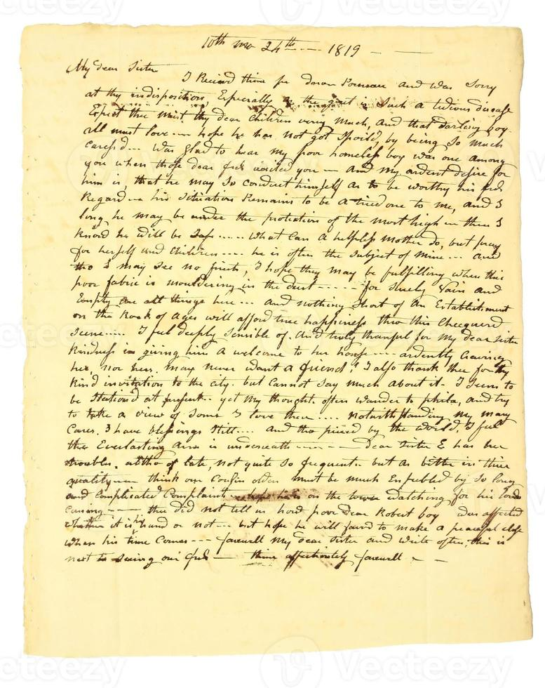 tidigt handskrivet personligt brev daterat 1819. foto