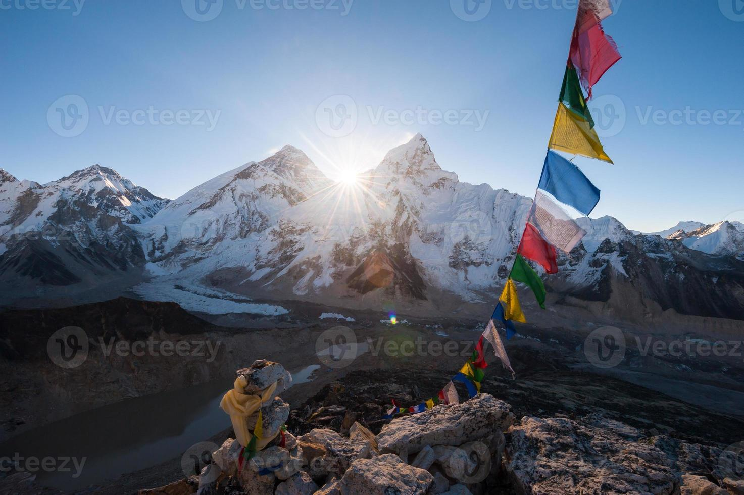 Mest.estest vid soluppgången från Kala Patthar toppmötet, Nepal foto