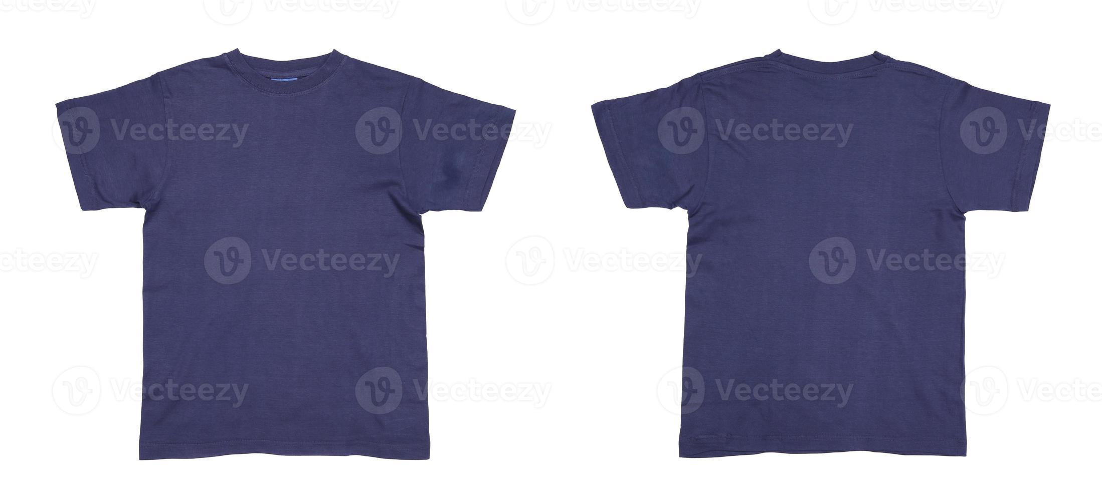 framsidan och baksidan av en blå herr-t-shirt foto