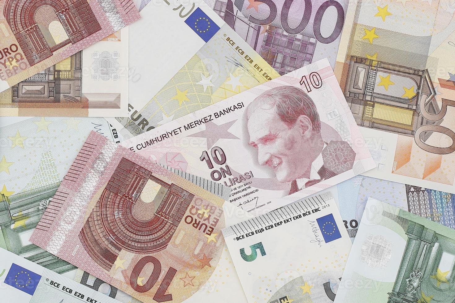 pengar: europeisk och turkisk valuta foto