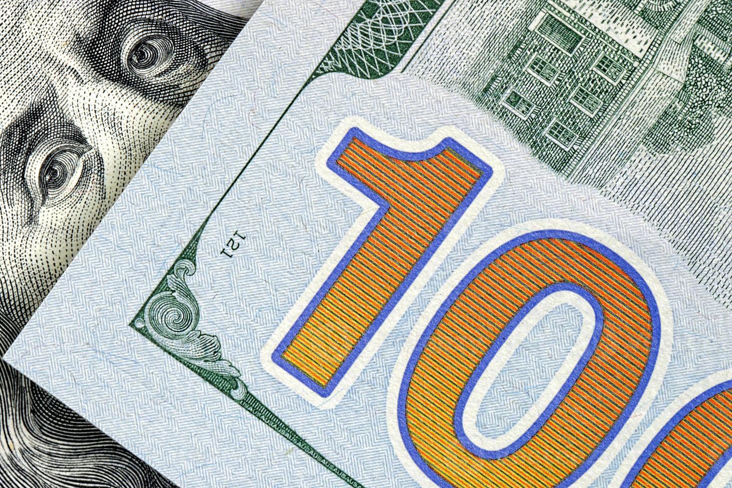 amerikanska pengar, hundra dollarsedlar foto