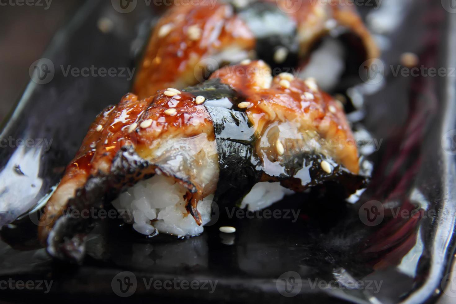 unagi sushi set. japansk ål foto