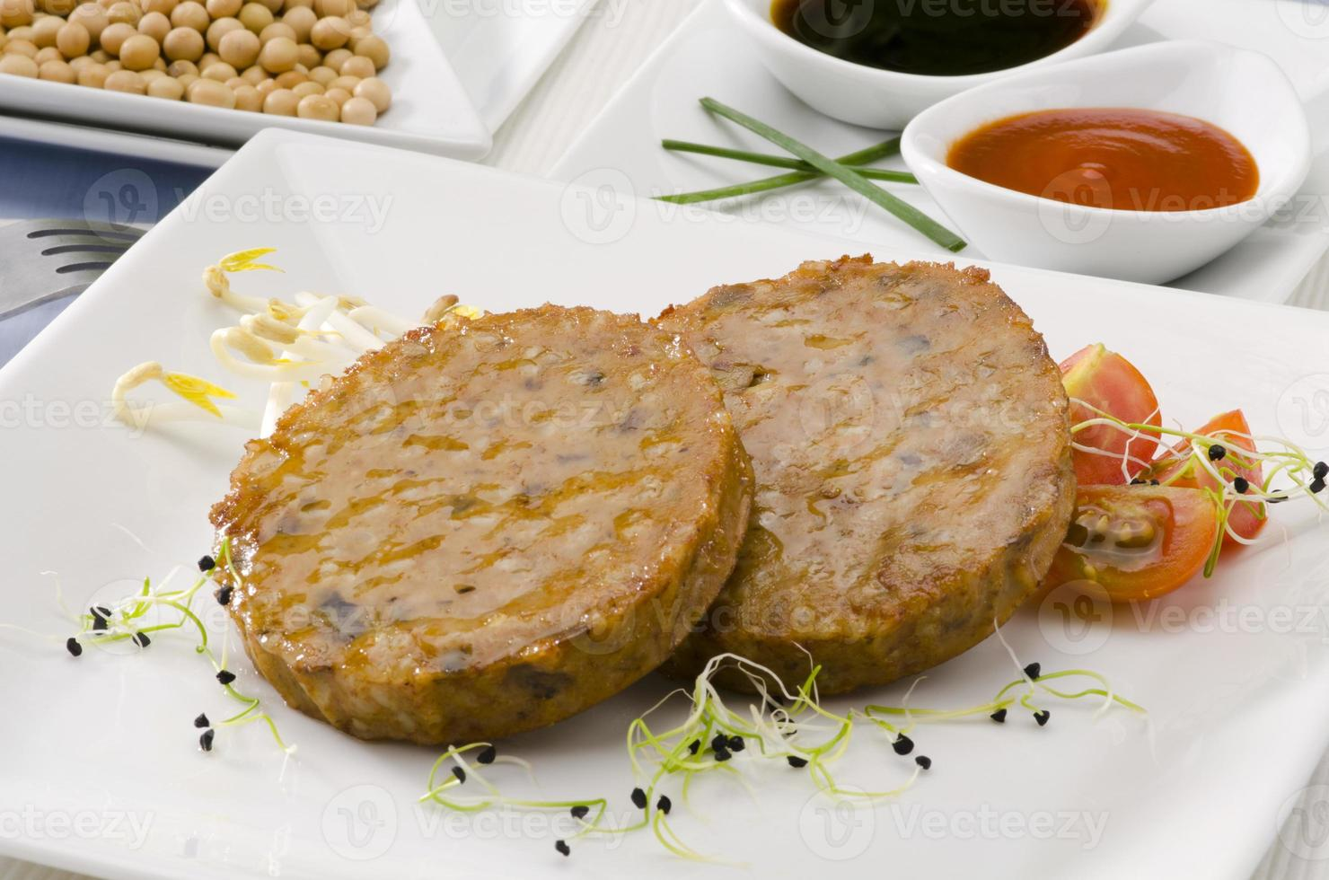 vegetarisk tofuburger. foto