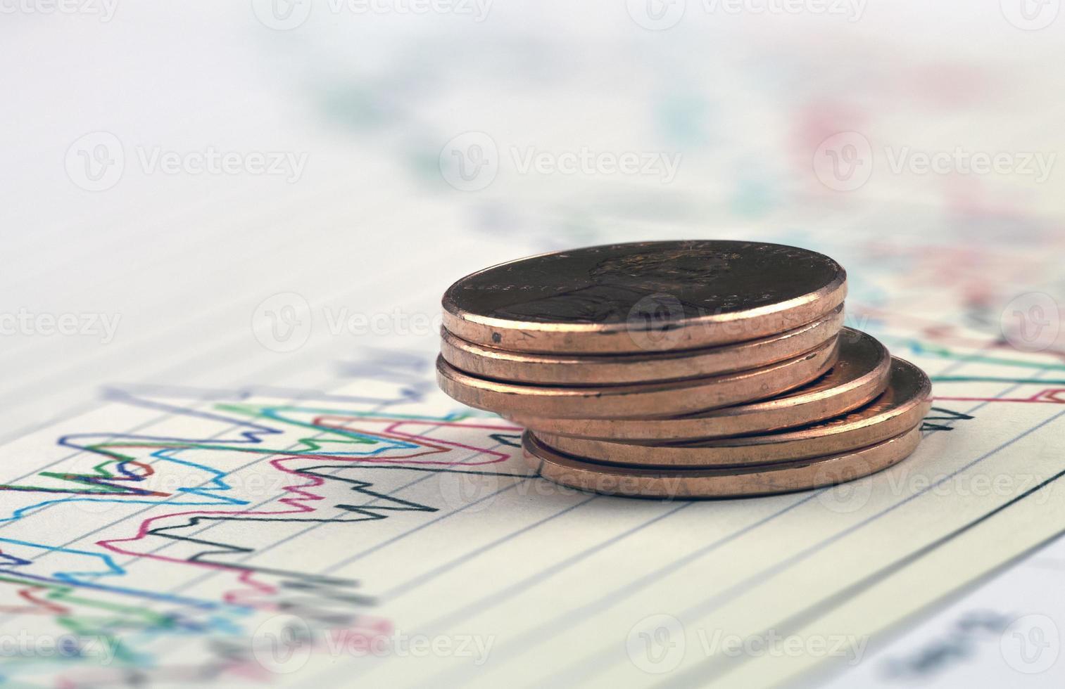 närbild av mynt. foto