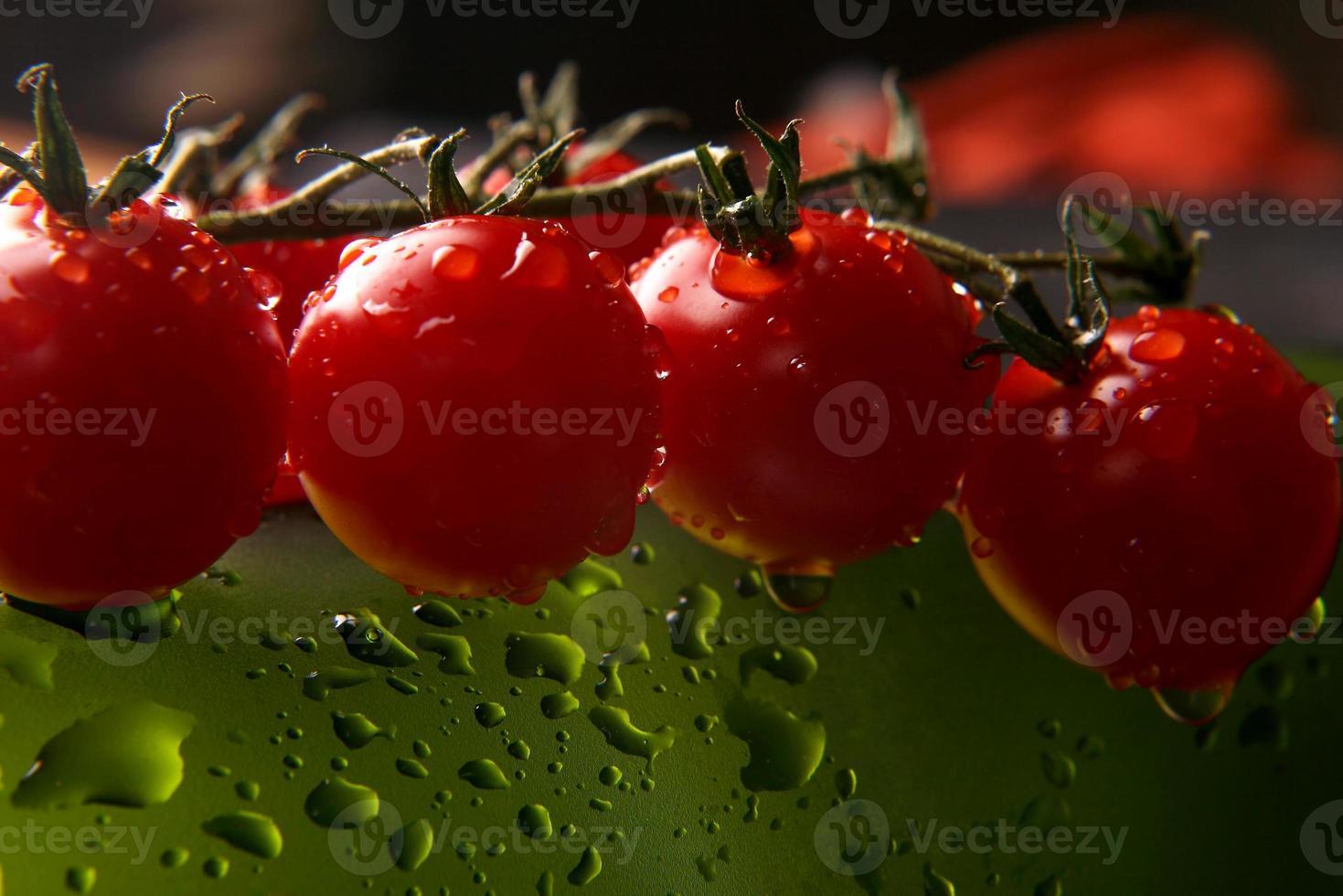 tomater i vattendropparna på grön bakgrund foto