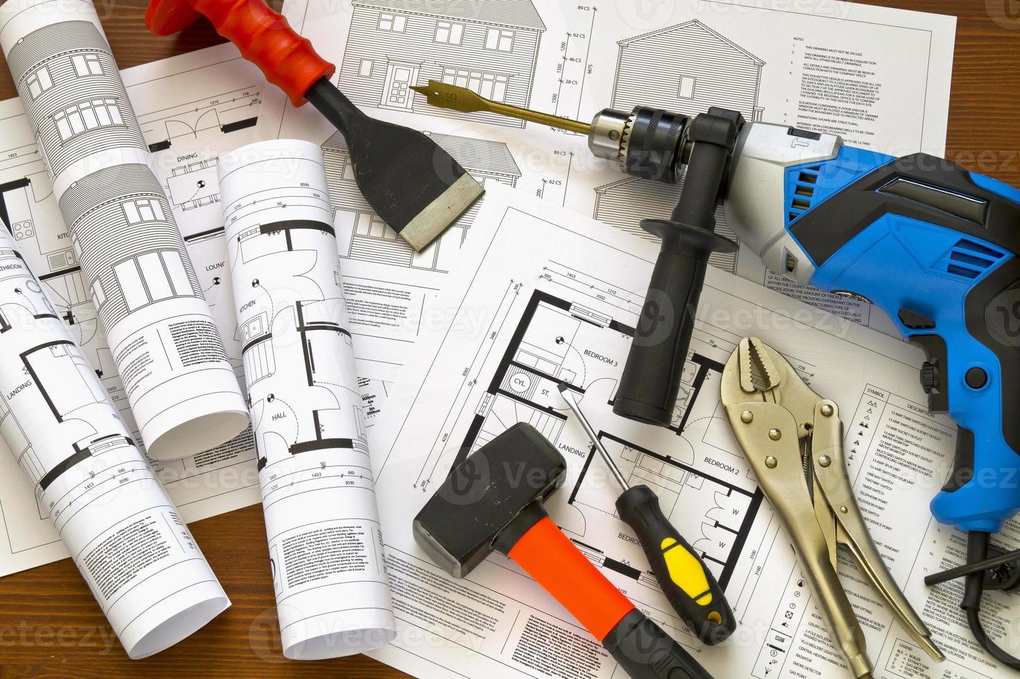 hus ritningar och verktyg foto