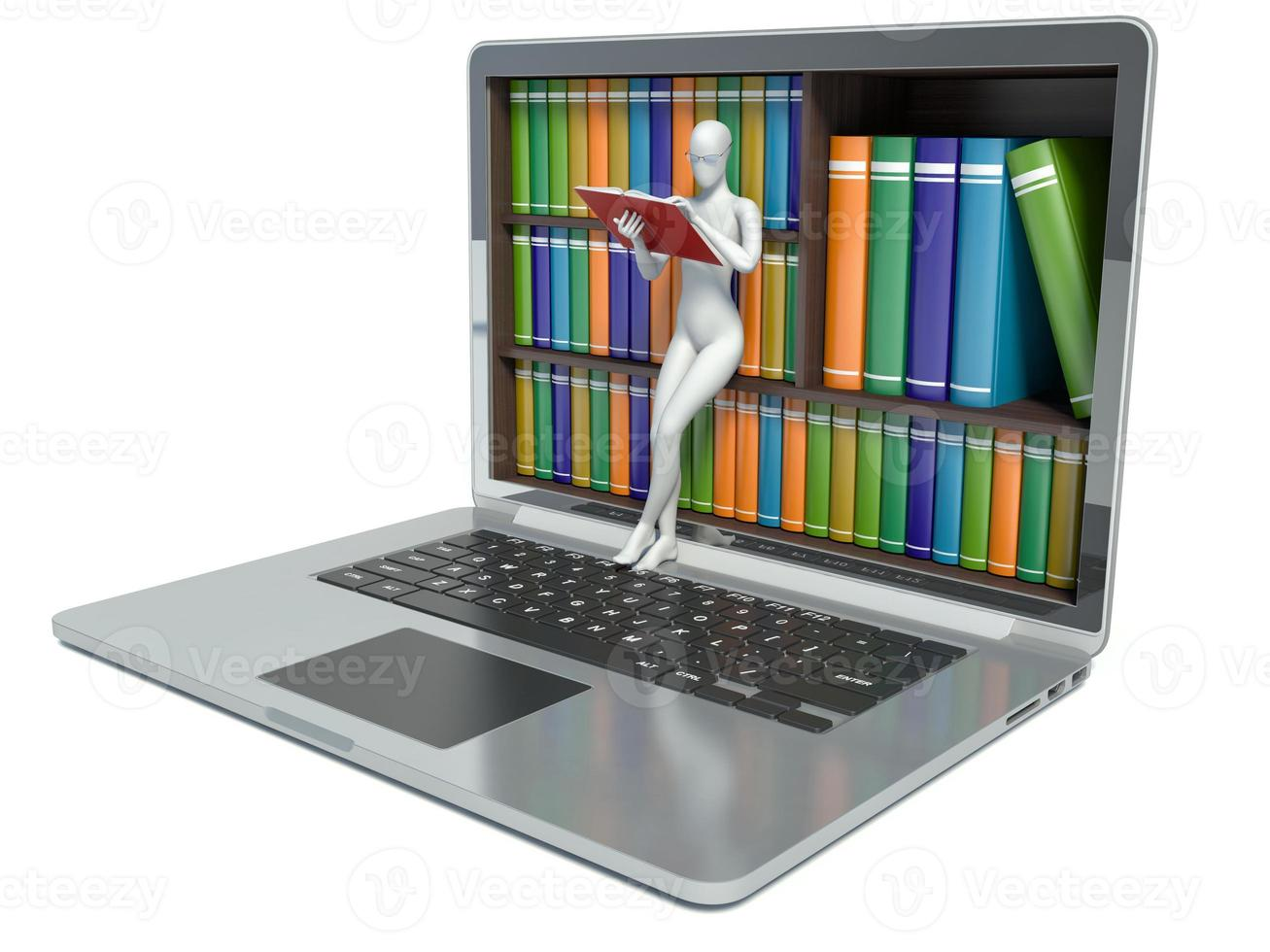 Vita människor 3d. ny teknik. digitalt bibliotek koncept. LAPT foto