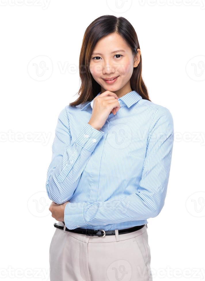 affärskvinna leende foto