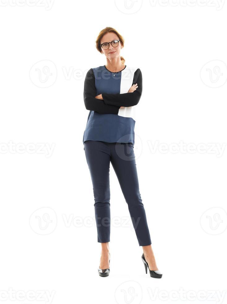 mogen affärskvinnastående foto