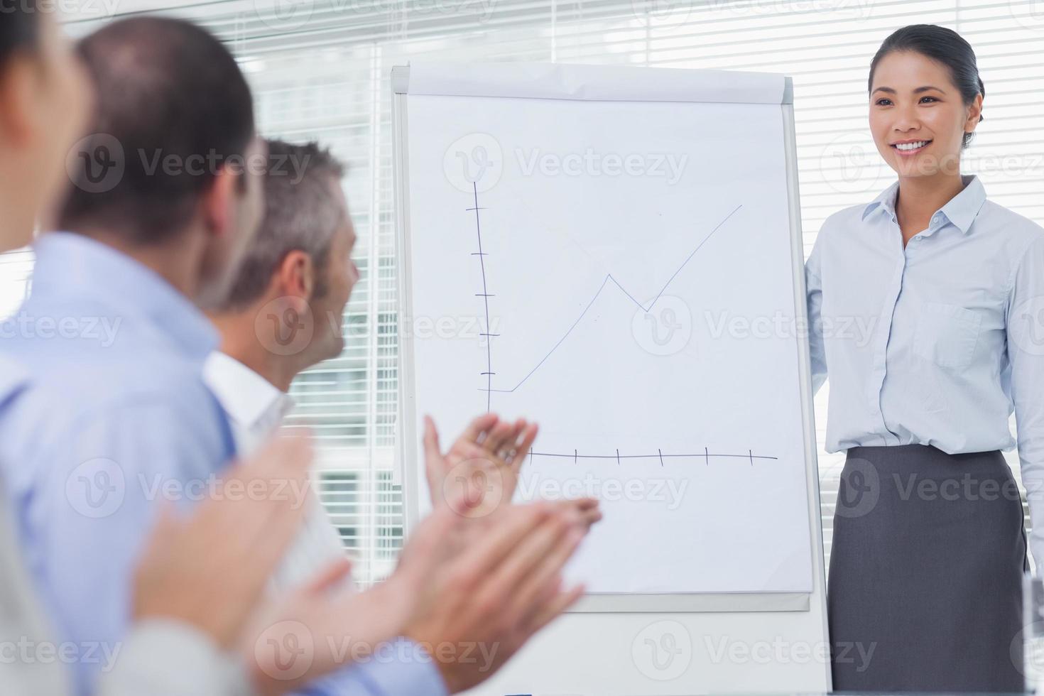 affärsmän som applauserar sin kollega för hennes presentation foto