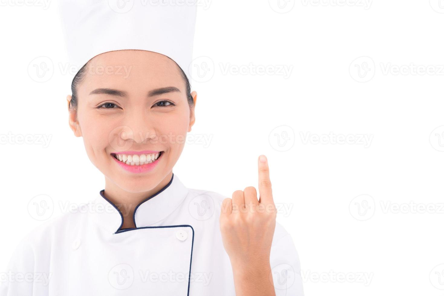 leende asiatisk bagare foto