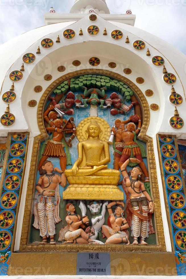 detalj av hög shanti stupa nära leh foto