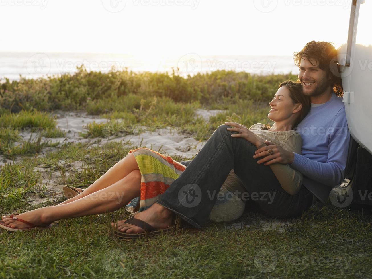 par på stranden foto