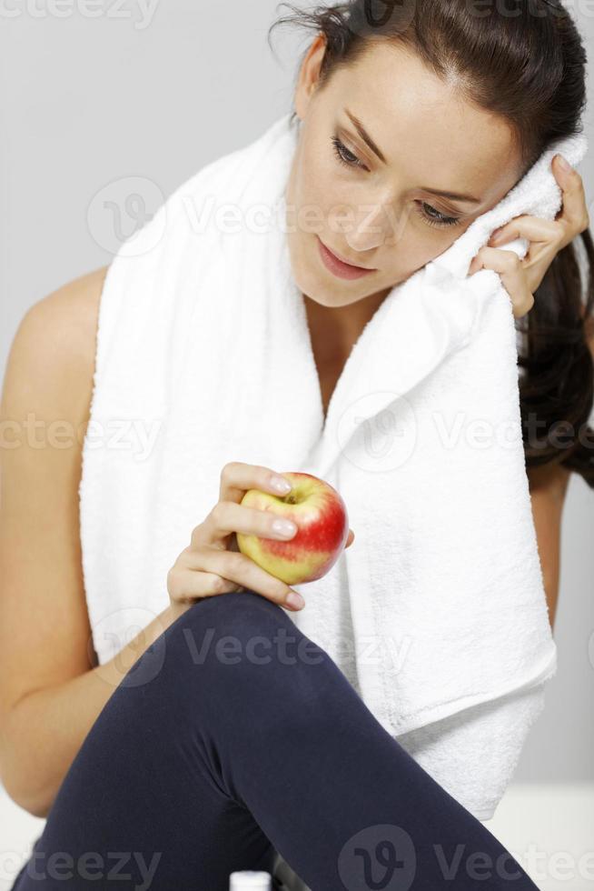 kvinna i fitness foto