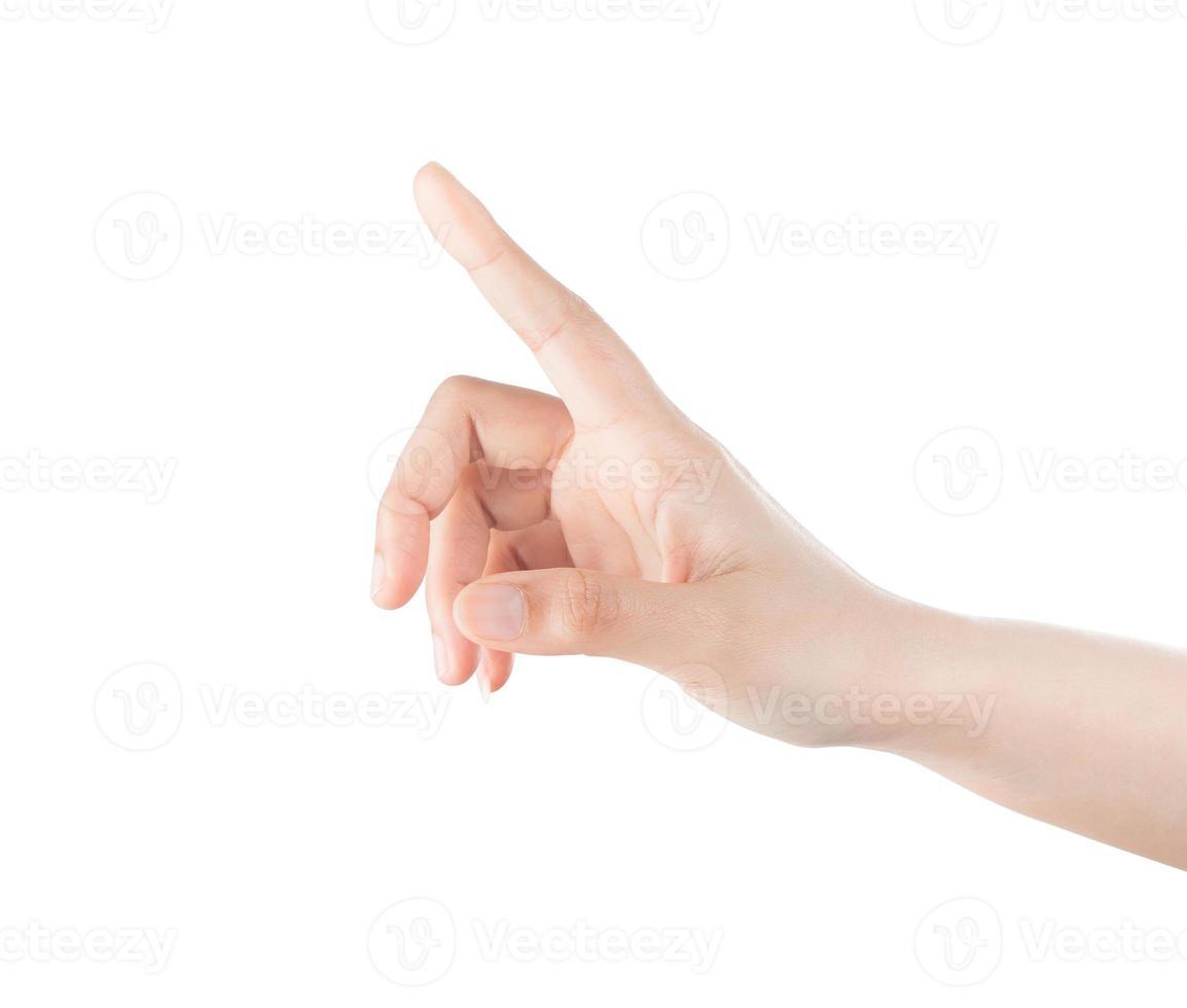 kvinna hand röra virtuella skärmen. isolerad på vitt. foto