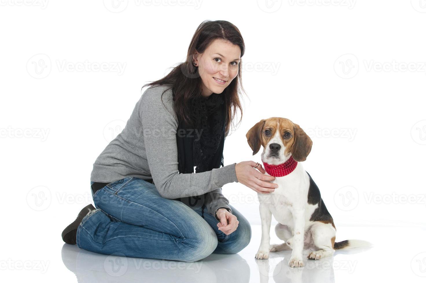 kvinna med hund foto