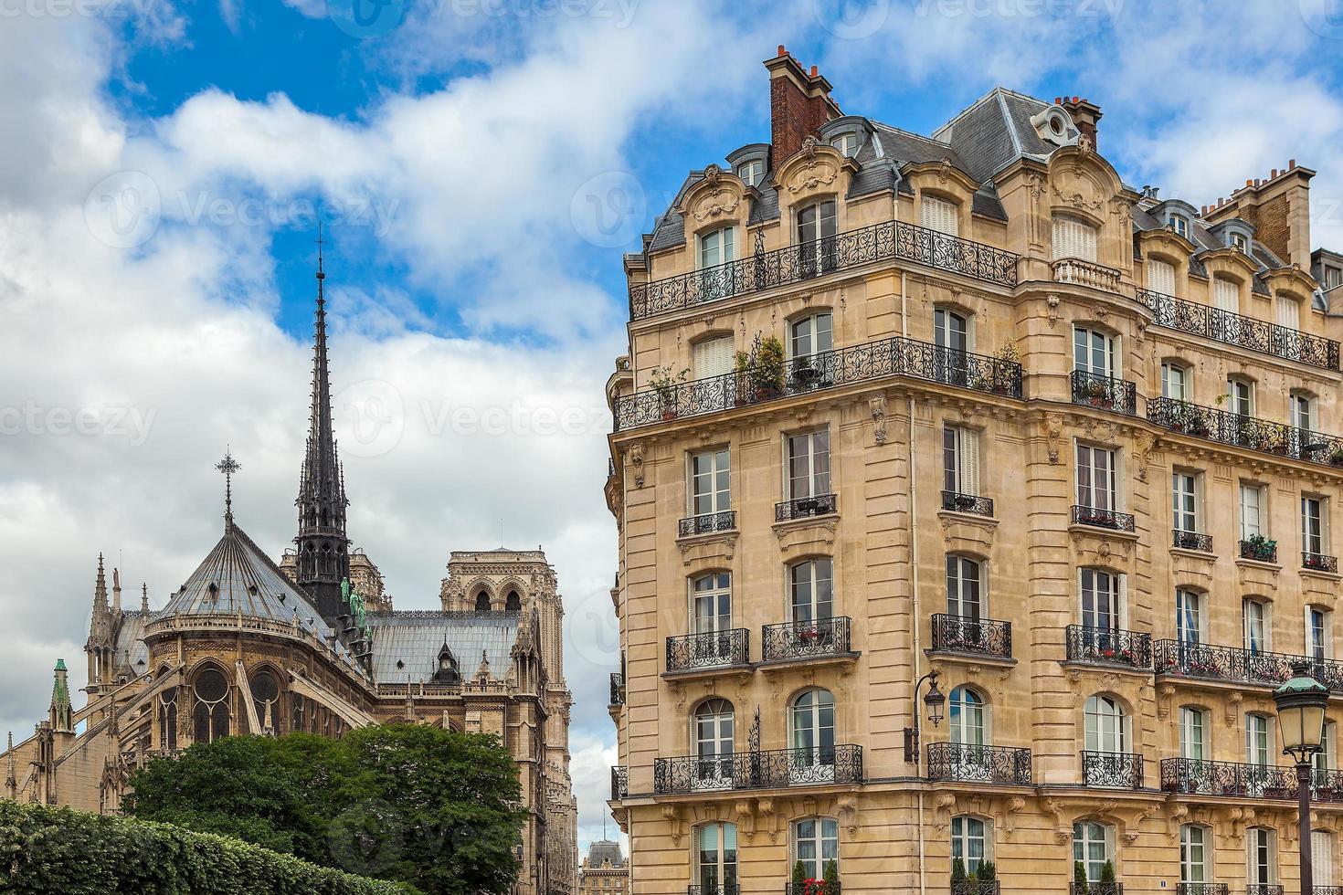 parisisk byggnad och katedralen Notre Dame de Paris. foto