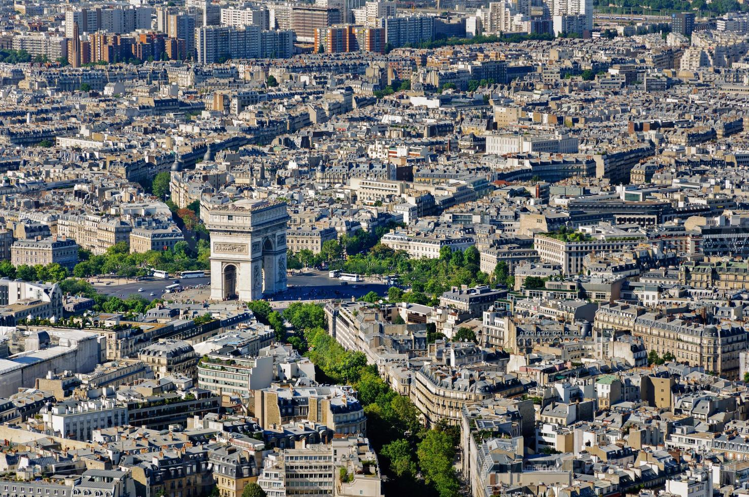 place de l'etoile och arc de triomphe place, Paris, Frankrike foto