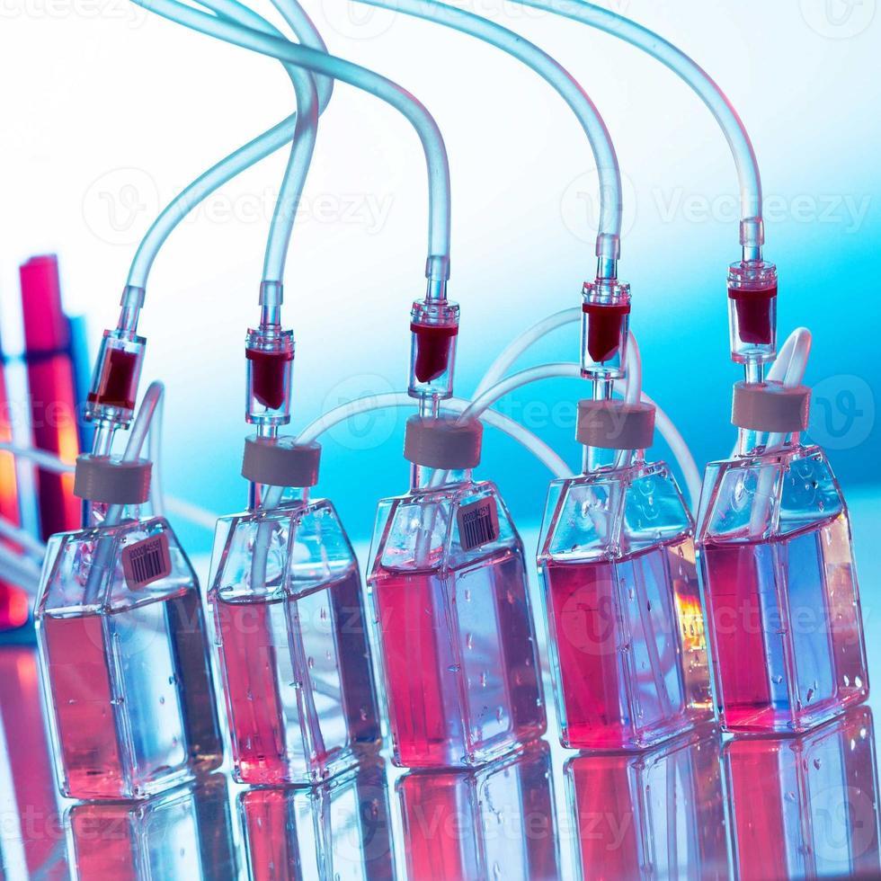 växer biologisk kultur, flaskar laboratorieshaker foto