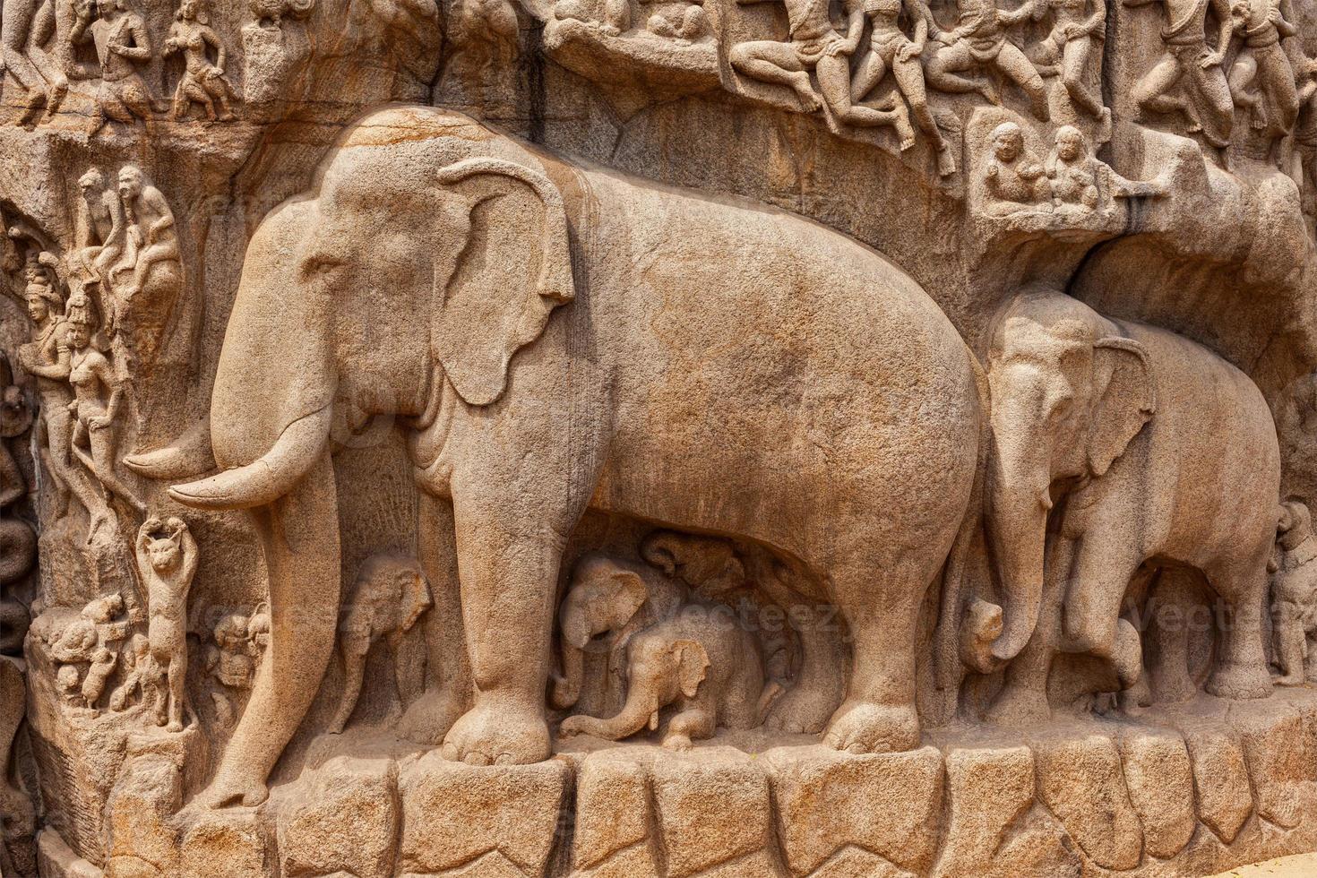 härkomst av gängen och arjunas bot, mahabalipuram, tamil foto