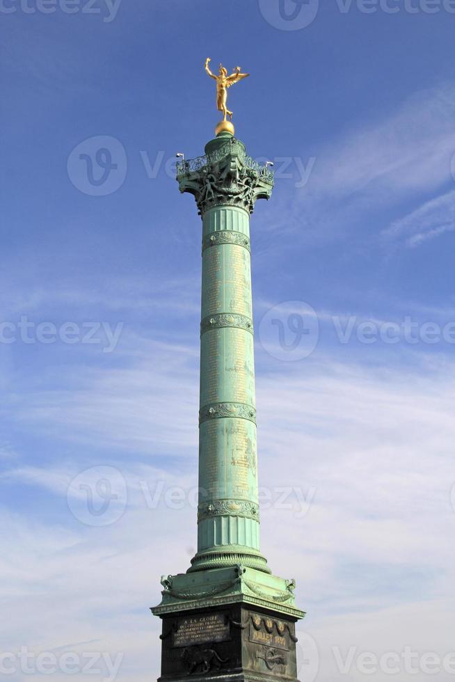 juli kolumn på bastilleplatsen, Paris, Frankrike. foto
